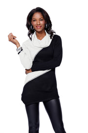 Long Sleeve Colorblock Pullover IVORY/BLACK