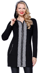 Long Sleeve Hoodie Houndstooth Trim Sweater BLACK/WHITE