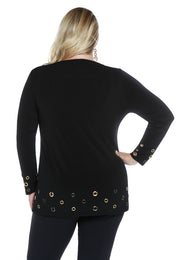 Long Sleeve Multi Grommet Hem Cuffed Tunic-Plus BLACK