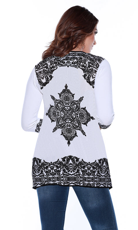 Long Sleeve Open Cardigan with Mandala Print WHITE/BLACK