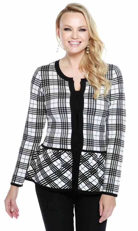 Long Sleeve Plaid Peblum Cardigan WINTER WHITE/BLACK