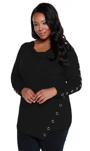 Super Soft French Terry Pullover with Grommets Down Sleeves - Plus Size