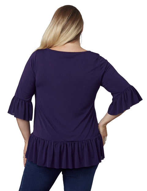 Long Sleeve Pullover with Ruffled Hem and Sleeves - Plus Size