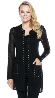 Long Sleeve Rhinestudded Open Cardigan BLACK/SILVER
