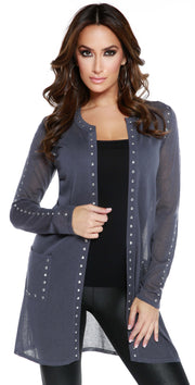 Long Sleeve Rhinestudded Open Cardigan SLATE GREY/SILVER