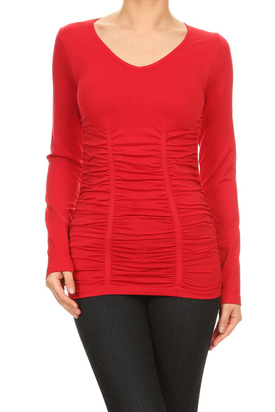 Long Sleeve V-Neck Top with Ruching BELLDINI RED