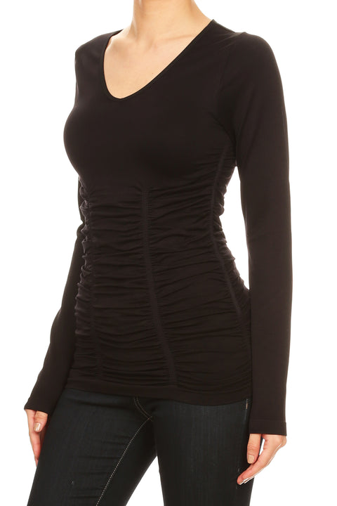 Long Sleeve V-Neck Top with Ruching BLACK