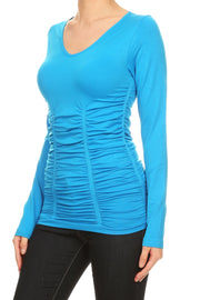 Long Sleeve V-Neck Top with Ruching MEDITERRANEAN