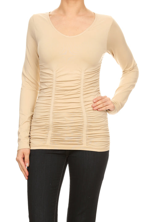 Long Sleeve V-Neck Top with Ruching SUMMER SAND