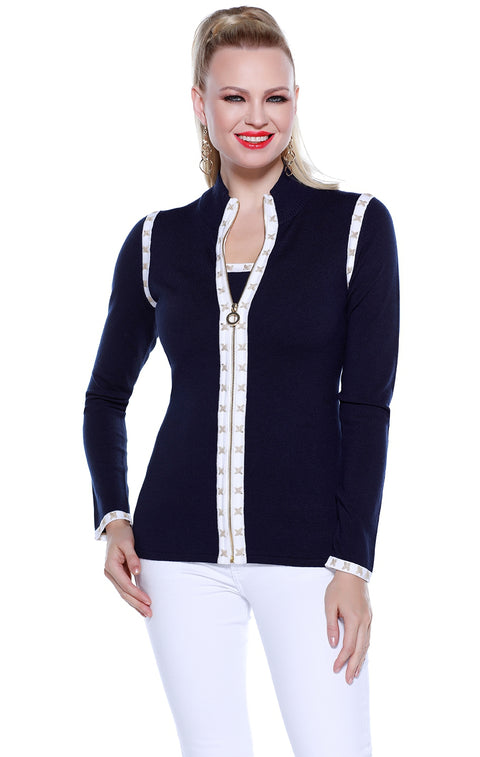 Long Sleeve Zip Up Cardigan with Cross Stitch Trim and Matching Tank NAVY/WHITE/GOLD