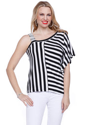 Lovely Multi-Stripe One Shoulder Top with Sparkling Rhinestone Strap  BLACK/WHITE
