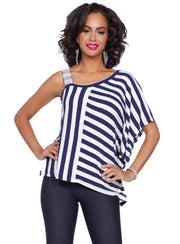 Lovely Multi-Stripe One Shoulder Top with Sparkling Rhinestone Strap  NAVY/WHITE