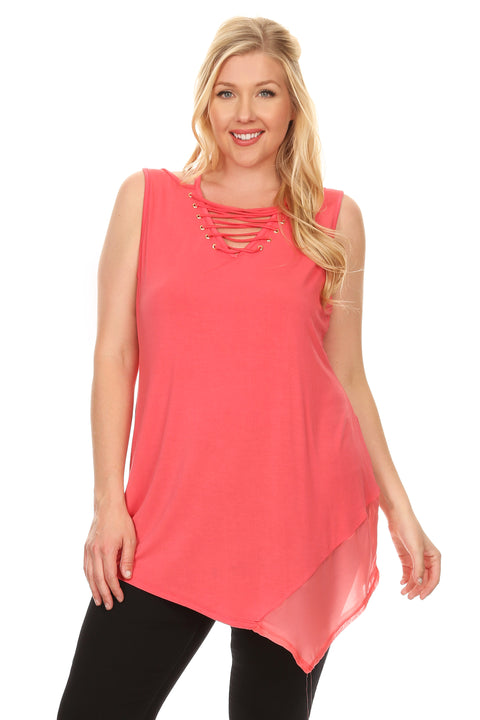 Lovely Sleeveless Top with Laced Neckline and Asymmetrical Chiffon Hem - Plus CALYPSO CORAL