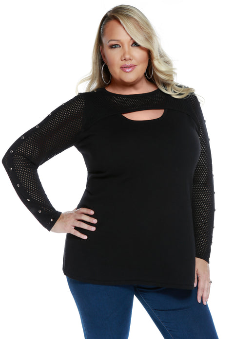 Mesh Stitch Long Sleeve Pullover with Stud Details-Plus BLACK/SILVER