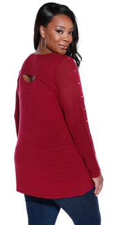 Mesh Stitch Long Sleeve Pullover with Stud Details-Plus PLUM WINE/SILVER