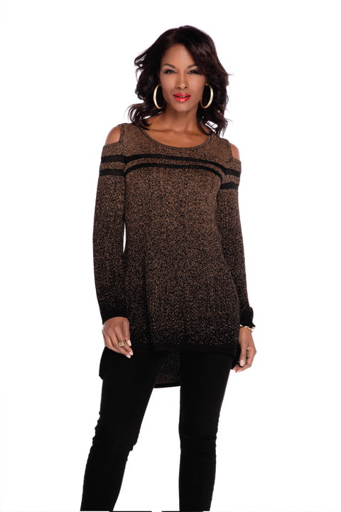 Metallic Cold Shoulder Hi-Low Pullover BLACK/COPPER