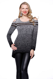 Metallic Cold Shoulder Hi-Low Pullover BLACK/SILVER