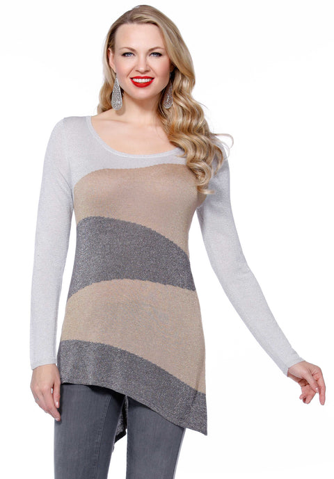 Metallic Long Sleeve Diagonal Stripe Pullover SILVER/MAPLE/PEWTER
