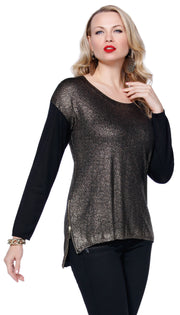 Metallic Pullover Sweater with Zipper BLACK/GOLD