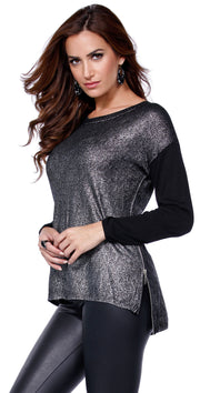 Metallic Pullover Sweater with Zipper BLACK/SILVER