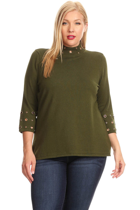 Mock Neck Pullover with Shiny Grommet Detail - Plus MILITARY GREEN
