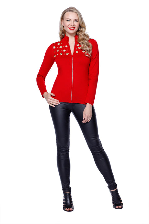 Mock Neck Rhinestone Zip Up Grommet Trim BELLDINI RED