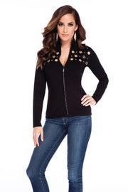 Mock Neck Rhinestone Zip Up Grommet Trim BLACK