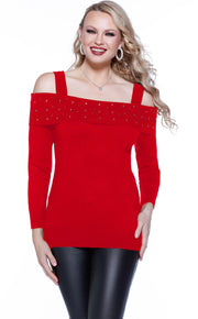 Off The Shoulder Top with Overlay and Scattered Rhinestones BELLDINI RED