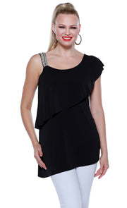 One Shoulder Rhinestone Strap Pullover with Overlay and Asymmetrical Hem BLACK