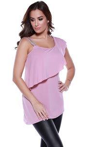 One Shoulder Rhinestone Strap Pullover with Overlay and Asymmetrical Hem DESERT ROSE