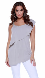 One Shoulder Rhinestone Strap Pullover with Overlay and Asymmetrical Hem PEARL GREY