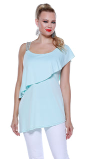 One Shoulder Rhinestone Strap Pullover with Overlay and Asymmetrical Hem SEA MIST