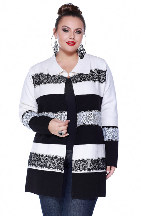 Open Front Contrast Stripe Duster with Lace Applique - Plus WINTER WHITE/BLACK