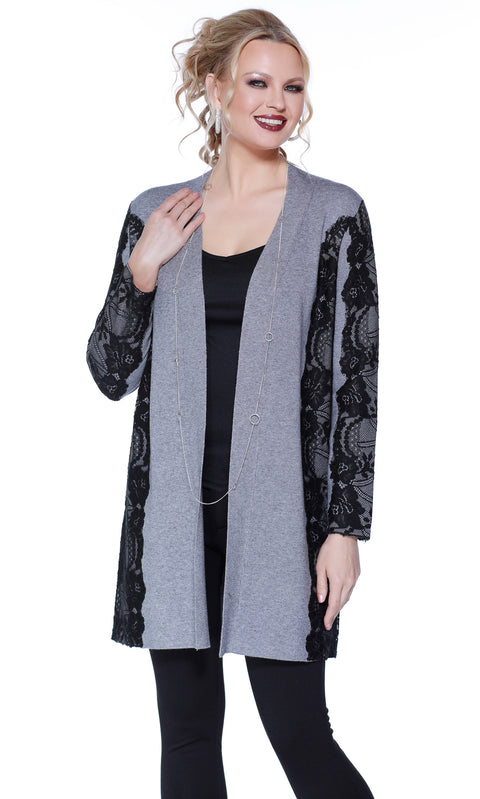 Open Front Duster with Contrast Lace Applique HEATHER GREY/BLACK