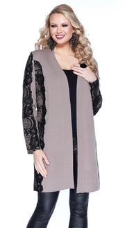 Open Front Duster with Contrast Lace Applique HEATHER MOCHA/BLACK