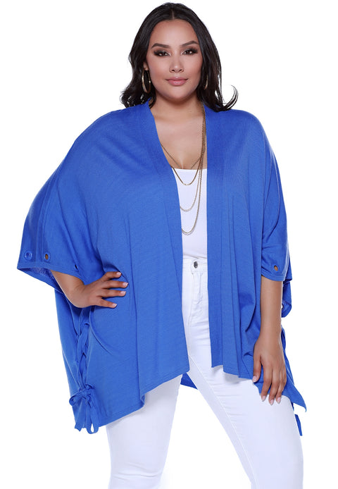 Open Kimono Style Shawl with Laced Sides - Plus Size
