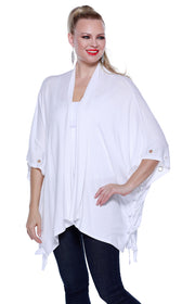 Open Kimono Style Shawl with Laced Sides WHITE