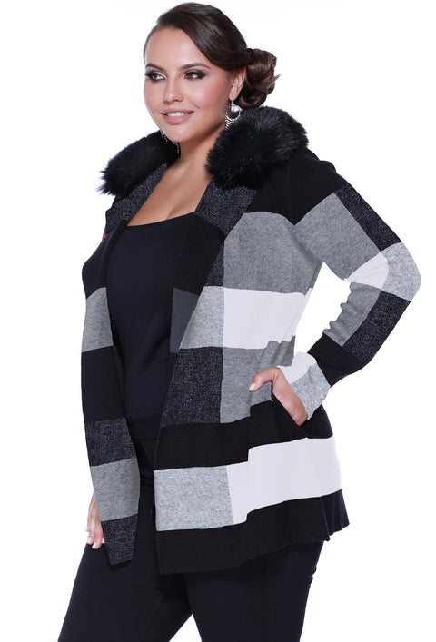 Plaid Long Sleeve Cardigan with Fur Collar - Plus Size