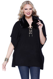 Poncho with Faux Fur Collar and Rhinestone Grommet and Chain Lacing BLACK