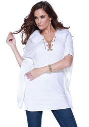 Poncho with Faux Fur Collar and Rhinestone Grommet and Chain Lacing WINTER WHITE