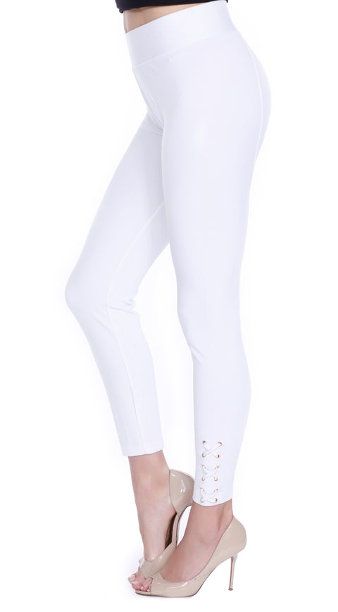 Ponte Leggings with Lacing at the Ankle WHITE