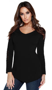 Raglan Long Sleeve Pullover with Braided Detail Sleeves BLACK