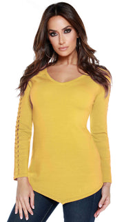 Raglan Long Sleeve Pullover with Braided Detail Sleeves SAFFRON