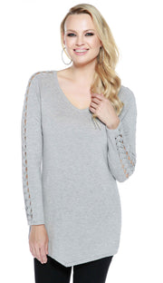 Raglan Long Sleeve Pullover with Braided Detail Sleeves HEATHER GREY