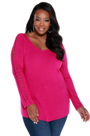 Braided Sleeve Raglan Pullover - Plus Size