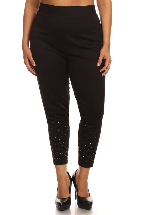 Rhinestone Leggings Plus BLACK
