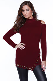 Ribbed Cold Shoulder Asymmetrical Pullover with Rhinestone Grommets & Velvet Lacing BLACK CHERRY