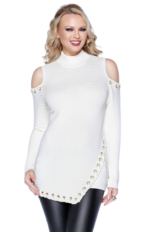 Ribbed Cold Shoulder Asymmetrical Pullover with Rhinestone Grommets & Velvet Lacing WINTER WHITE