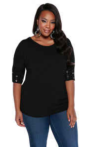 Round Neck Pullover with Banded Grommet Short Sleeves-Plus BLACK/SILVER