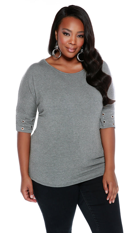 Round Neck Pullover with Banded Grommet Short Sleeves-Plus HEATHER GREY/SILVER